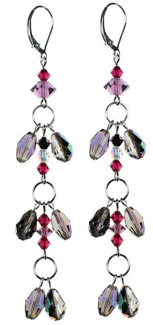 Karen Curtis NYC original design • Swarovski crystal 3 tier earrings on sterling silver • Roaring 20's collection