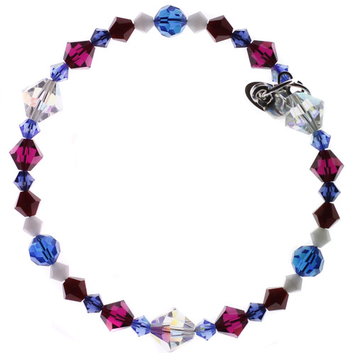 Swarovski Crystal Red White & Blue Limited Edition Stackable Bracelet with Sterling Silver Finishing Touches