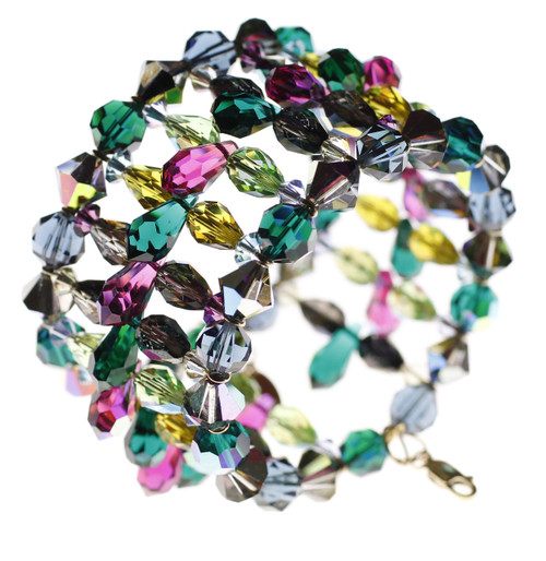 Wide Crystal Cuff Bracelet with Spikes - Mystical Collection