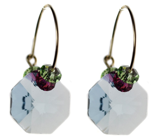 Aqua blue Swarovski crystal earrings by Karen Curtis NYC