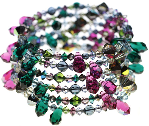 Coiling Bangle Bracelet with Crystal Spikes