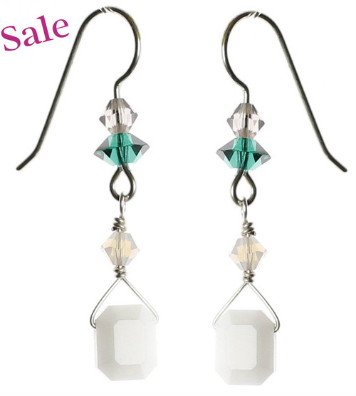 Rare Swarovski crystal and sterling silver earrings by Karen Curtis NYC