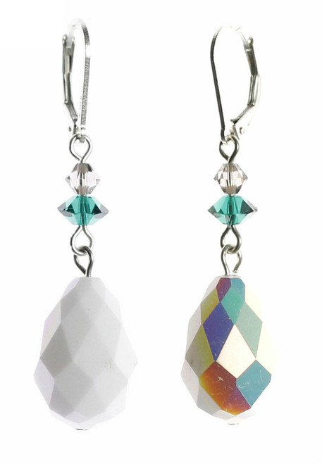 Sterling Silver & Vintage White Swarovski Crystal Drop Earrings -Mint