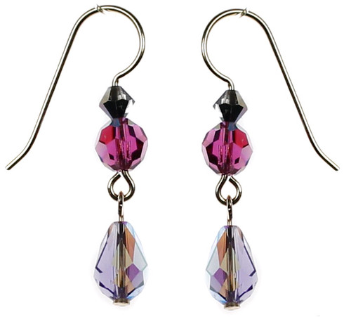 Purple crystal earrings made with Swarovski crystal and 14K gold filled by The Karen Curtis Company in NYC