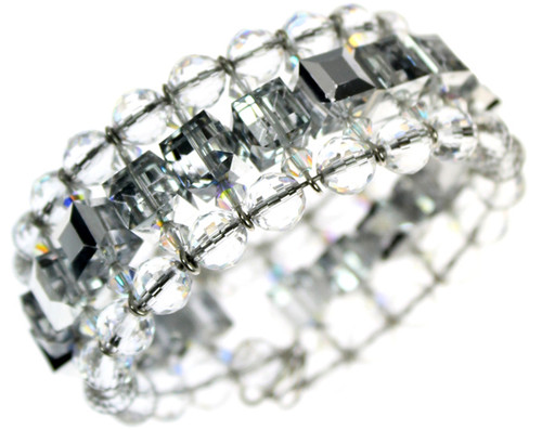 Beautiful and elegant cuff bracelet using crystal, crystal AB and silver coated crystal SWAROVSKI crystals