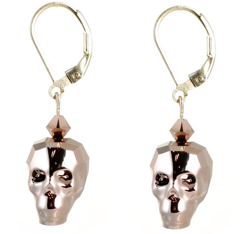 Rose gold skull earrings by the Karen Curtis Company NYC