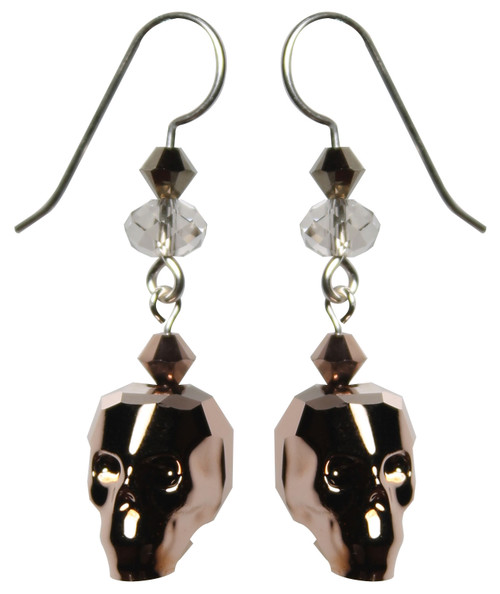 Swarovski crystal skull earrings by the Karen Curtis Company in NYC