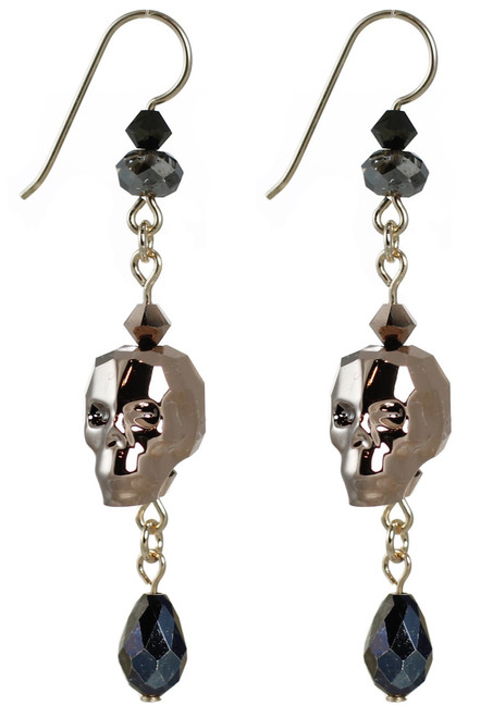 Designer earrings with skulls, made of swarovski crystal and 14K gold by the Karen Curtis Company NYC