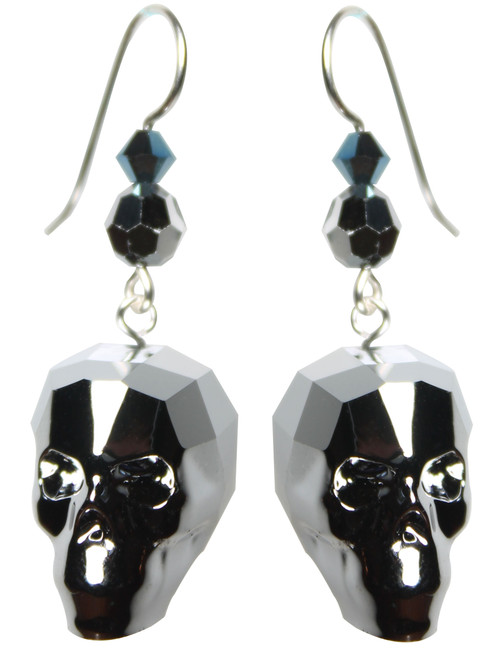 New Elegant skull earrings made with Swarovski crystal by The Karen Curtis Company