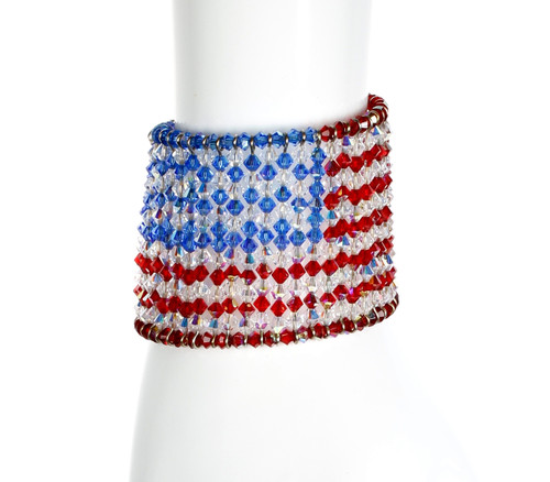 American Flag Olympic Bracelet. Made in NYC by Karen Curtis using over 500 Crystals from Swarovski