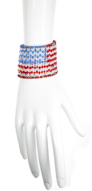 Cuff Bracelet with American Flag pattern in Crystal