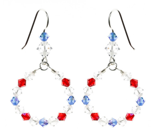 American themed crystal earrings by the Karen Curtis Company in NYC