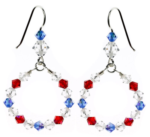 Red white and blue american crystal jewelry Karen CUrtis NYC