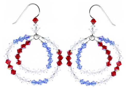 Earrings with American colors. Red white and blue Swarovski crystal earrings mad by The Karen Curtis Company NYC