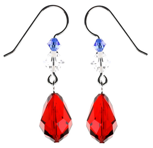 Red American Drop Earrings