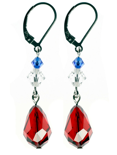 Red Swarovski crystal drop earrings. High fashion couture jewelry by Karen Curtis NYC