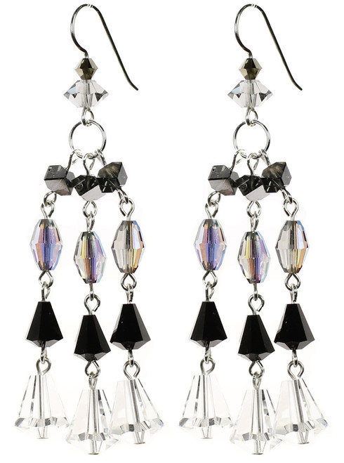 Elegant Black tie jewelry with Swarovski crystal and sterling silver. Crystal Earrings made by The Karen Curtis Company in NYC.