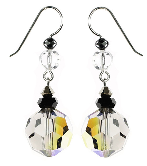 Designer swarovski crystal earrings made by the Karen Curtis Company in NYC