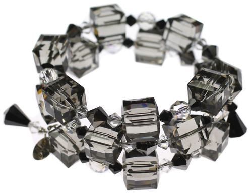 Elegant Swarovski crystal bangle bracelet made with rare cube crystal and sterling silver