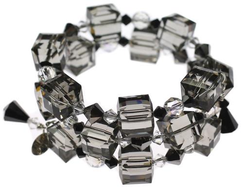 Elegant Swarovski crystal bangle bracelet made with rare cube crystal and sterling silver