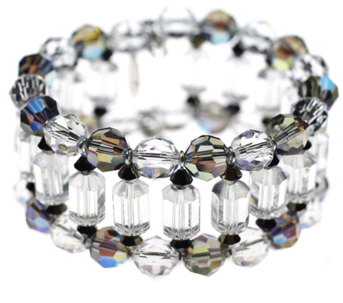 Rare Swarovski crystal mixed with Sterling Silver to create a beautiful crystal cuff bracelet. Made by The Karen Curtis Company NYC