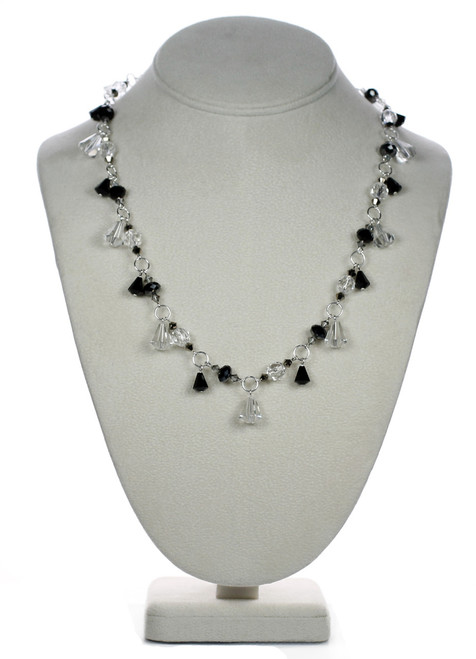 Deco Swarovski crystal necklace with Sterling Silver