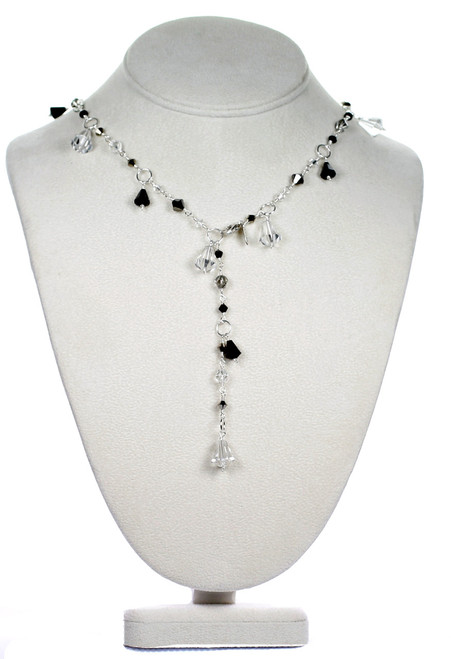 Y style necklace made with swarovski crystal and sterling silver by Karen Curtis NYC