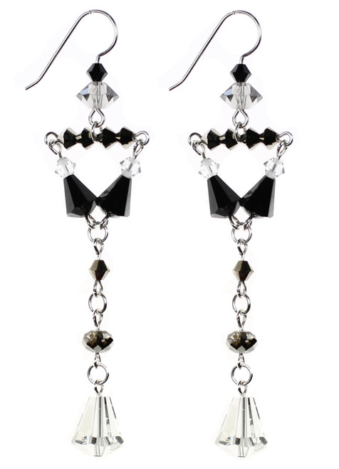 Long exotic Swarovski crystal earrings as seen at the Grande Central Holiday Fair. Designed and Hand made by Karen Curtis NYC.