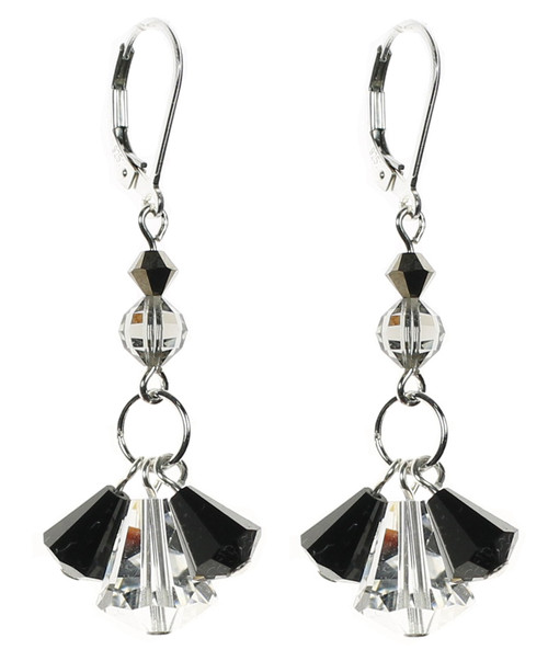 Elegant Swarovski crystal earrings with sterling silver by the Karen Curtis Jewelry Company in New York City.