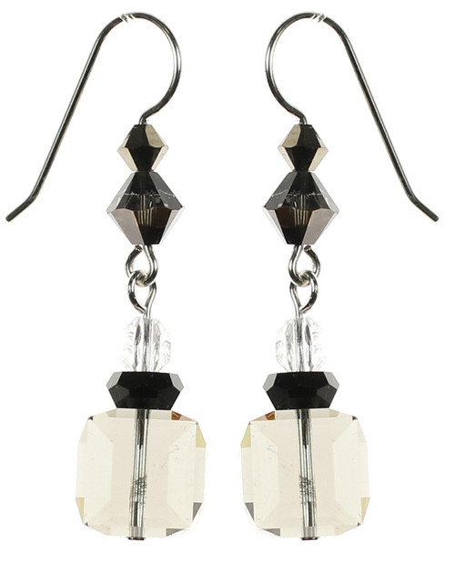 Amazing Swarovski crystal cube drop earrings made in New York City by The Karen Curtis Jewelry Company.