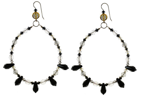 Spiked Swarovski crystal chandelier earrings by The Karen Curtis Jewelry Company in NYC.