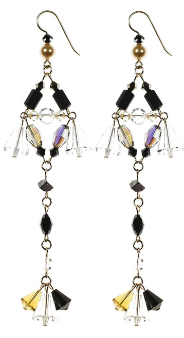 Long crystal strand earrings. NYC jewelry designer Karen Curtis' Devine style earring from the Gatsby Collection.