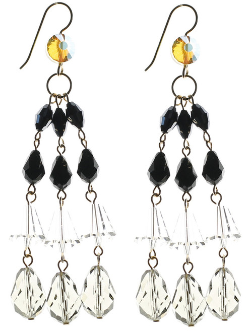 Three strand earrings made with rare Swarovski crystal by the Karen Curtis Jewelry Company in NYC