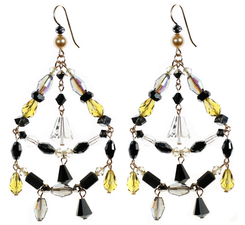 Amazing chandelier earrings made of Swarovski crystal and 14K gold filled. The Gatsby Jewelry collection by Karen Curtis NYC.