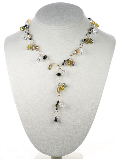 Swarovski crystal Y necklace from the Gatsby Jewelry Collection by Karen Curtis NYC