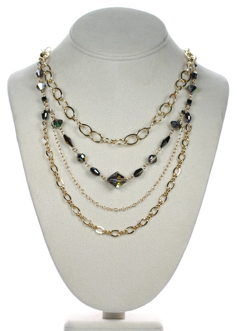 14K Gold Filled Chain & Swarovski Crystal Limited Edition Layer Necklace - Metallica