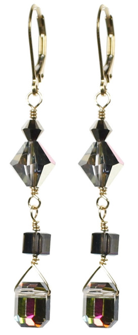 Emerald Cut Swarovski Crystal earrings from the Grand Central Holiday Fair in NYC 2014