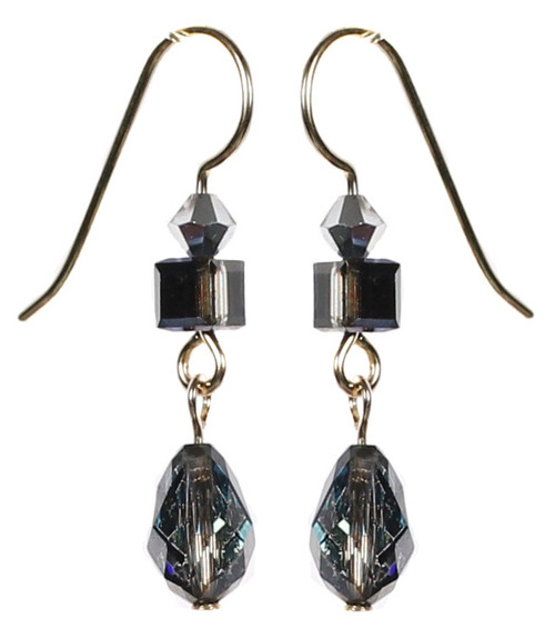 Single drop earrings made with Swarovski Crystal and Bermuda Blue Crystal by Karen Curtis NYC