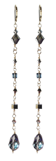 Long Crystal strand earrings made with Swarovski by The Karen Curtis Jewelry Company in NYC