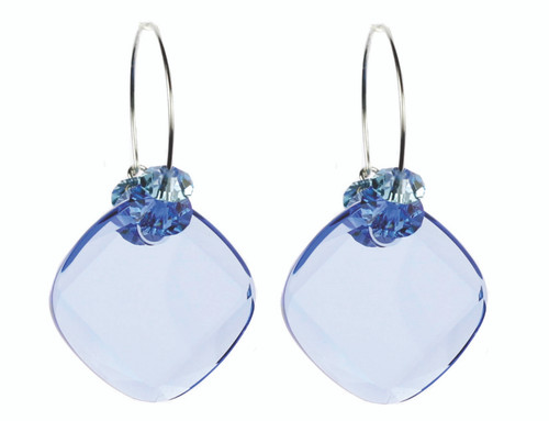 Sapphire Blue Swarovski crystal earrings. Hoop style earrings.