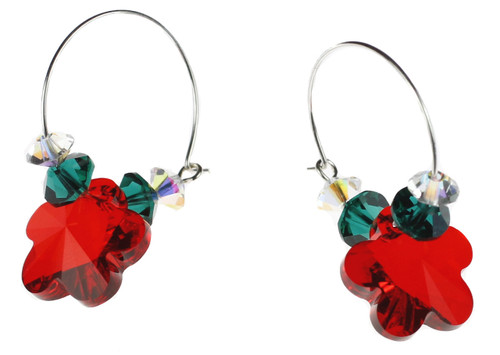 Christmas Earrings made with Swarovski Crystal by The Karen Curtis Jewelry Company in NYC.