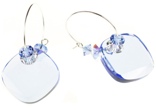 Beautiful Swarovski crystal earrings by The Karen Curtis Jewelry Company Sapphire Blue Hoop Earrings by Karen Curtis in NYC