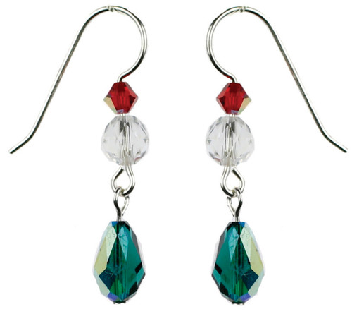 Emerald green crystal earrings for christmas by Karen Curtis NYC
