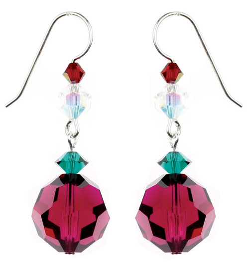 Cranberry Swarovski Crystal Drop Earrings for Christmas. Karen Curtis Jewelry Company NYC
