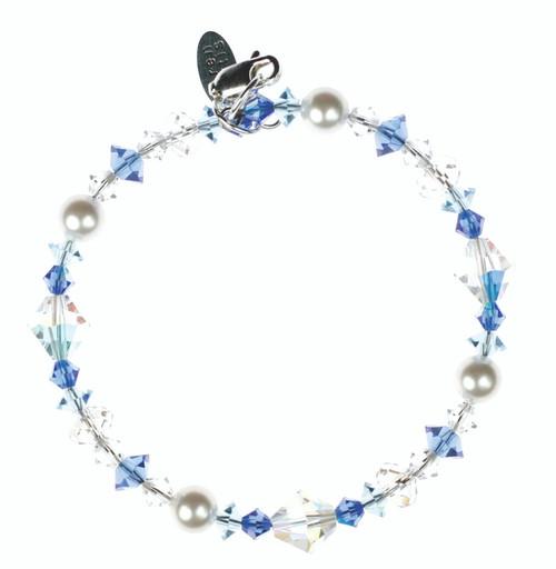 Swarovski Crystal Sapphire Blue Stackable Bracelet with Sterling Silver