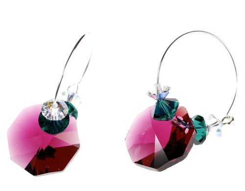 Ruby Red Christmas Earrings made with Crystals from Swarovski.