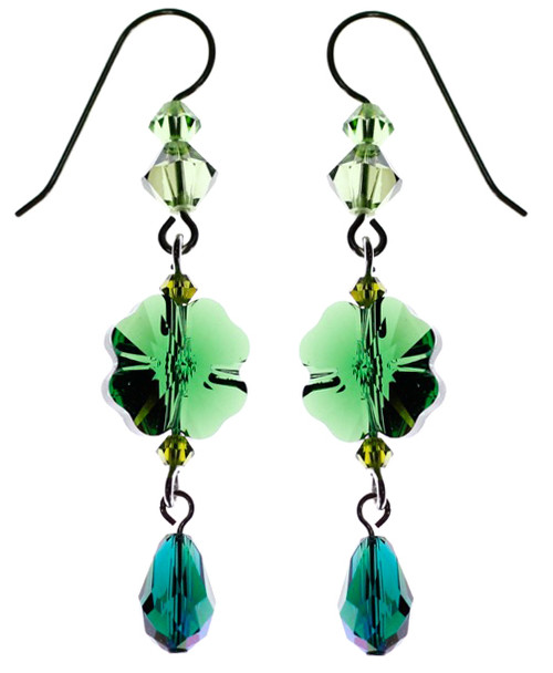 Emerald green Swarovski Crystal shamrock earrings for st Patrick's day. Four leaf clover earrings made with sterling silver