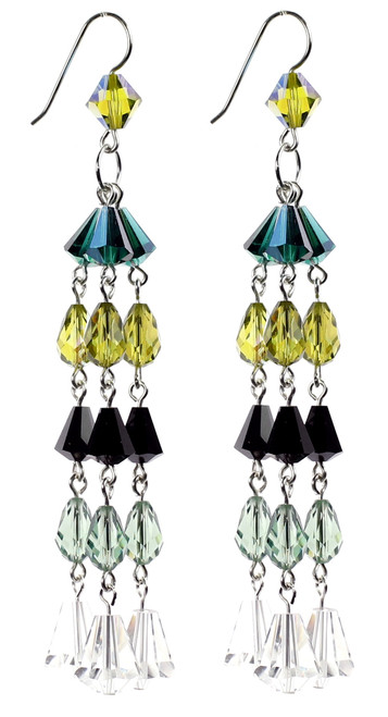Green Crystal Earrings on Sterling Silver with Crystals from Swarovski.