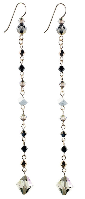 Long Thin Crystal Strand Earrings by The Karen Curtis Jewelry Company in NYC.