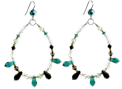 Chandelier Earrings with Green Crystal Spikes